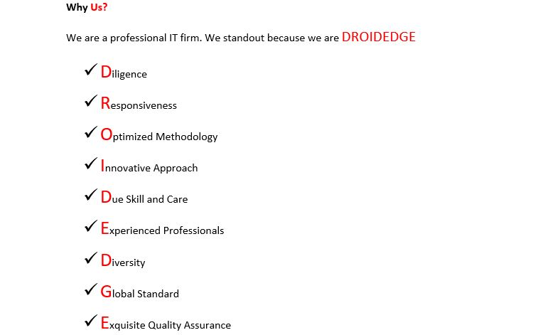 droidedge consulting value preposition